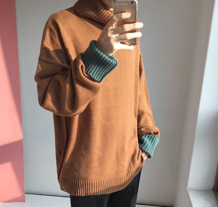 Knits & Sweaters Pullovers Wool Street Style Bi-color Long Sleeves Plain 7