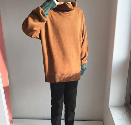 Knits & Sweaters Pullovers Wool Street Style Bi-color Long Sleeves Plain 8