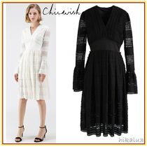 Chicwish Flared V-Neck Long Sleeves Medium Party Style Lace Dresses