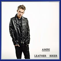 AMIRI Blended Fabrics Plain Leather Biker Jackets