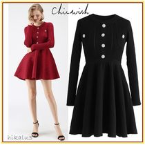 Chicwish Short Flared U-Neck Long Sleeves Plain Party Style Dresses