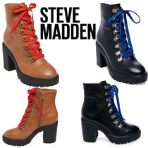 Steve Madden Lace-up Casual Style Street Style Plain Leather Block Heels