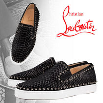 Christian Louboutin PIK BOAT Suede Blended Fabrics Studded Bi-color Other Animal Patterns