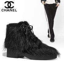 CHANEL Round Toe Fur Plain Chunky Heels Ankle & Booties Boots