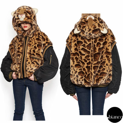 Leopard Patterns Casual Style Blended Fabrics Bi-color MA-1