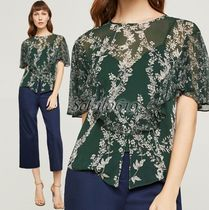 BCBG MAXAZRIA Crew Neck Flower Patterns Chiffon Short Sleeves