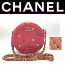 CHANEL MATELASSE Tartan Heart Lambskin Studded 2WAY Chain With Jewels