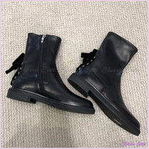 Sergio Rossi Plain Toe Plain Leather Elegant Style Ankle & Booties Boots