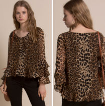Line & Dot Leopard Patterns Long Sleeves Medium Shirts & Blouses