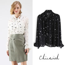 Chicwish Star Long Sleeves Medium Elegant Style Shirts & Blouses