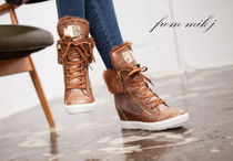 Wedge Round Toe Lace-up Casual Style Faux Fur