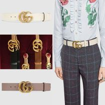 GUCCI GG Marmont Unisex Plain Leather Elegant Style Belts