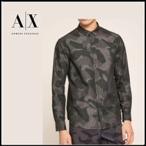 A/X Armani Exchange Button-down Camouflage Long Sleeves Cotton Shirts