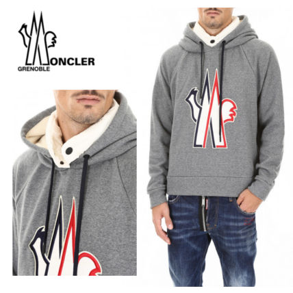 MONCLER Hoodies Pullovers Street Style Long Sleeves Plain Cotton Oversized