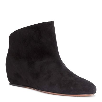 Suede Plain Elegant Style Wedge Boots