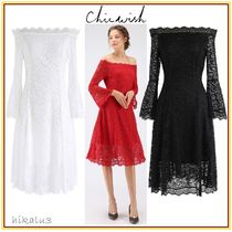 Chicwish Flower Patterns Medium Party Style Lace Dresses