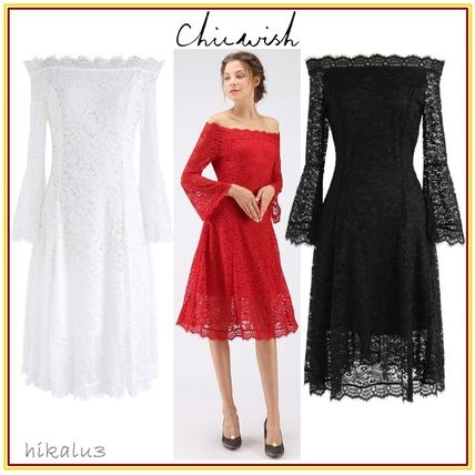 Flower Patterns Medium Party Style Lace Dresses