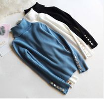 Casual Style Rib Blended Fabrics Long Sleeves Plain Long