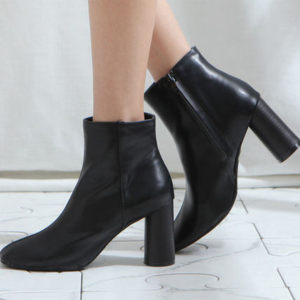 Ankle & Booties Square Toe Casual Style Faux Fur Plain Block Heels 3