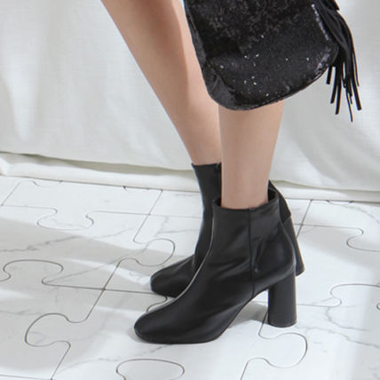 Ankle & Booties Square Toe Casual Style Faux Fur Plain Block Heels 6