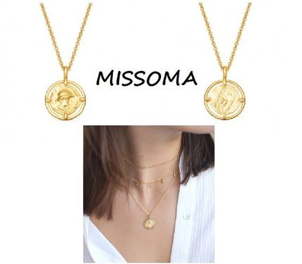 Casual Style Coin Chain Silver 18K Gold Necklaces & Pendants