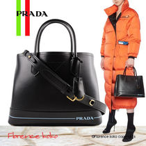 PRADA Calfskin 2WAY Plain Elegant Style Handbags