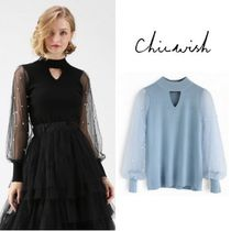 Chicwish Blended Fabrics Long Sleeves Plain High-Neck Elegant Style