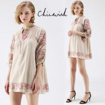 Chicwish Flower Patterns Tassel Cropped Plain Cotton Tunics