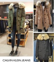 Calvin Klein Faux Fur Street Style Plain Medium Khaki Down Jackets