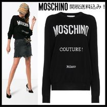 Moschino Crew Neck Casual Style Wool Long Sleeves Plain Sweaters