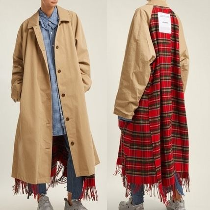 Gingham Unisex Wool Street Style Plain Long Oversized