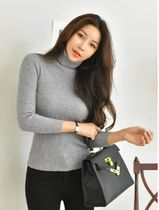 Cable Knit Casual Style Long Sleeves Plain Cotton High-Neck