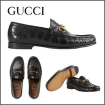 GUCCI Loafers Chain Plain Leather U Tips Loafers & Slip-ons