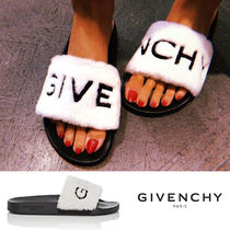 GIVENCHY Open Toe Rubber Sole Casual Style Faux Fur Blended Fabrics