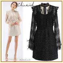 Chicwish Short Tight Puffed Sleeves High-Neck Elegant Style Dresses