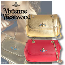 Vivienne Westwood Chain Plain Leather Party Style Shoulder Bags