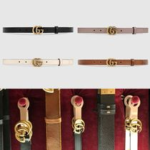 GUCCI GG Marmont Plain Leather Elegant Style Belts