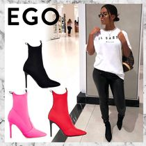 EGO Stripes Casual Style Plain Pin Heels Ankle & Booties Boots