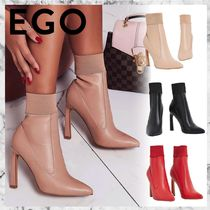 EGO Casual Style Faux Fur Plain Pin Heels Ankle & Booties Boots