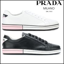 PRADA DUAL Round Toe Rubber Sole Lace-up Casual Style Plain Leather