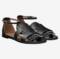 HERMES Open Toe Casual Style Studded Plain Leather Fringes Sandals