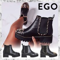 EGO Plain Toe Casual Style Faux Fur Studded Plain Chelsea Boots