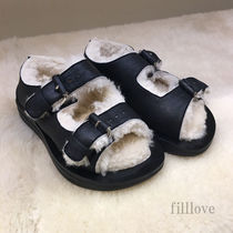 CELINE Open Toe Casual Style Fur Plain Footbed Sandals Flat Sandals