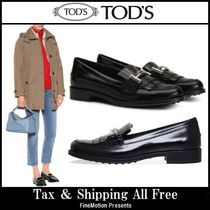 TOD'S Round Toe Rubber Sole Plain Leather Fringes