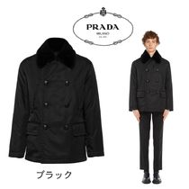 PRADA Short Plain Peacoats Coats