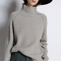 Casual Style Wool Long Sleeves Plain Medium High-Neck