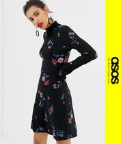 ASOS Flower Patterns Casual Style Long Sleeves Dresses