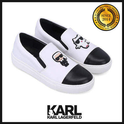 Rubber Sole Casual Style Bi-color Leather Slip-On Shoes