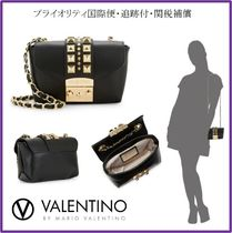 VALENTINO Studded Chain Plain Leather Elegant Style Shoulder Bags