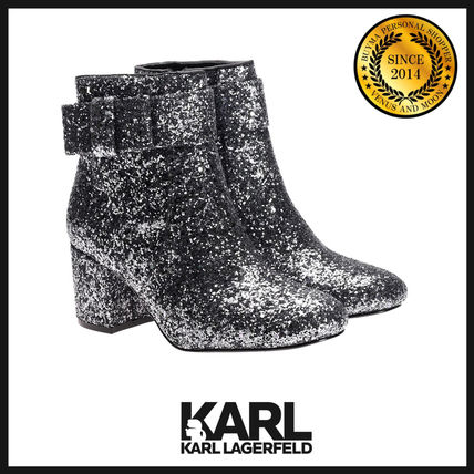 Plain Toe Plain Leather Party Style Chunky Heels Boots Boots